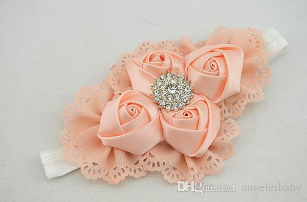 12st Stirnband Gurt der Satin-Rosa-Blumen weiche Haargummi der Haarhalter Diademe für Frauen sind diese hochwertige HD081