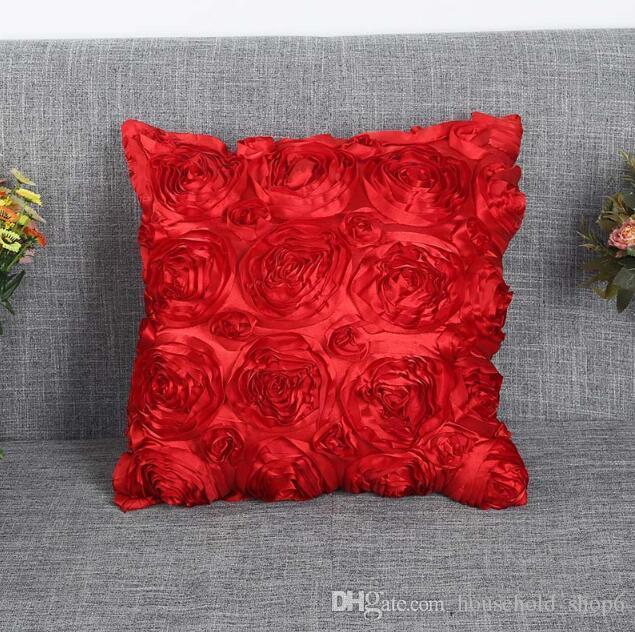 42 * 42 cm Rose Fleur Coussin Brodé Couvre 8 Couleurs Décoration Taie d'oreiller Sans Canapé Intérieur Coussin Housse pour mariage