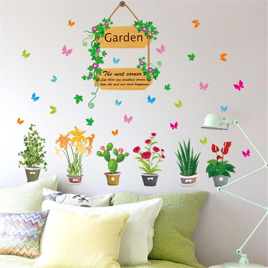 Removable Vinyl Garden Potted Flower Wall Stickers For Living Room Kitchen Mural Sticker Kids Room Bedroom Decor Wall Art Decal