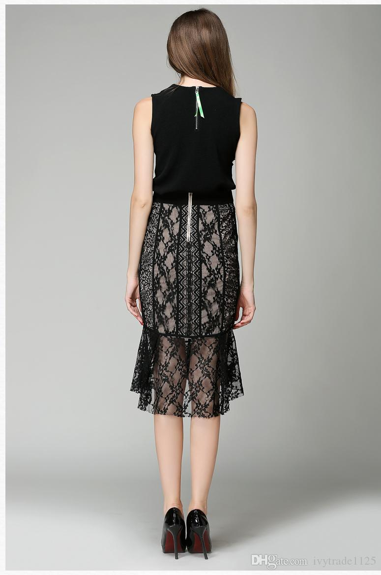 Yüksek Kalite Kadınlar Fishtail Etekler oymak Dantel Etekler Moda Elbise Avrupa Tarzı Parti Ince Kalça Elbise Yeni Tasarım