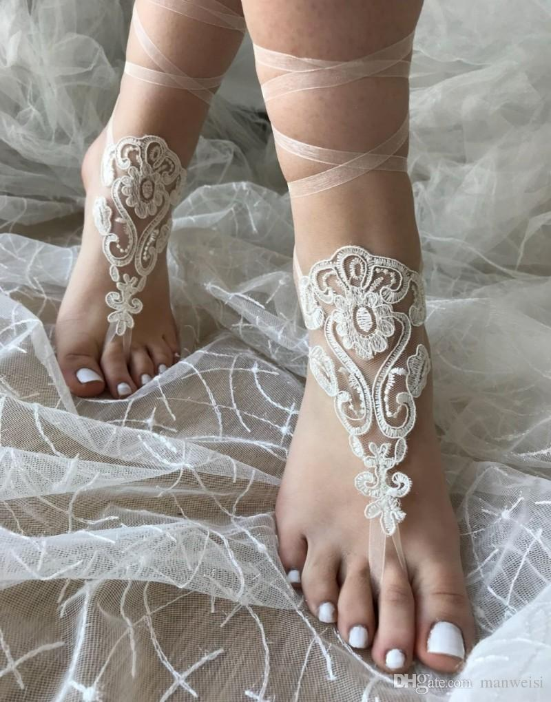 b301f2b482a1 New Design Lace Beach Wedding Barefoot Sandals 2018 Boho Ankle Chain Custom  Made Bridal Bridesmaid Jewelry Foot Dresses For Bridal List Of Bridal ...