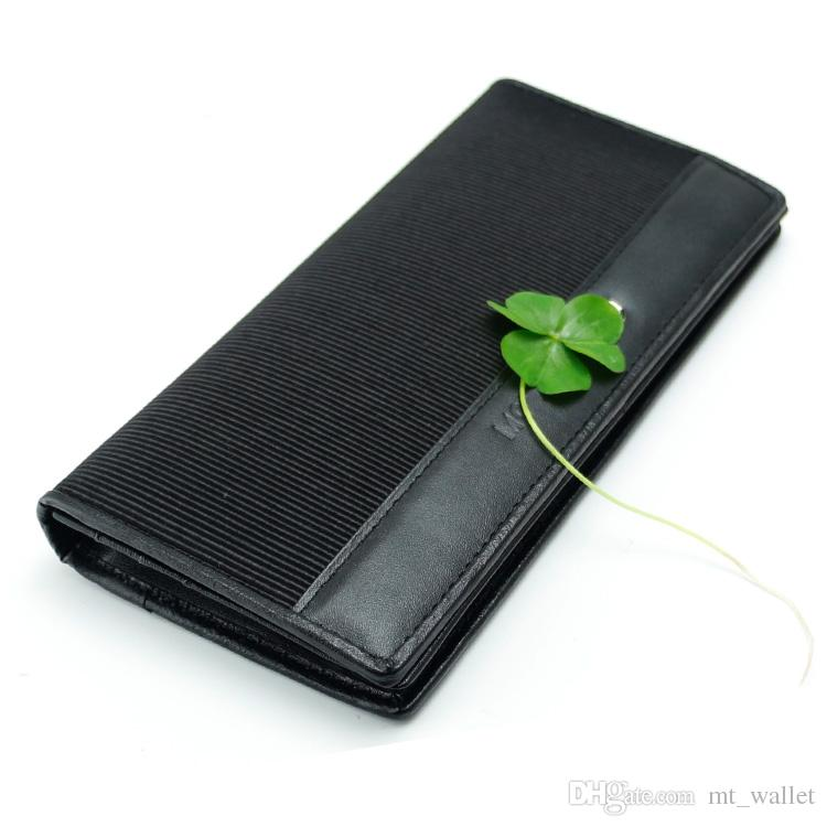 Men's luxury fashion MB genuine leather and fabrics patchwork long wallets business card case black card holder classics credit card wallet