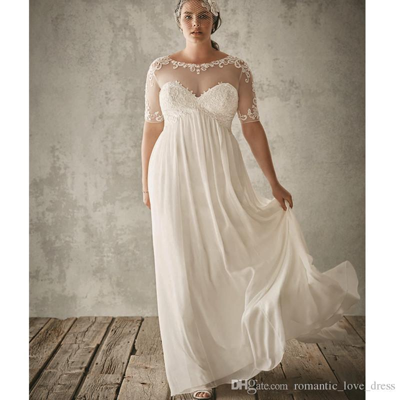 Plus Size Sheer Wedding Dresses 2019 Hot Selling New Scoop Neckline Pleats A-Line Half Sleeve Empire Lace Chiffon Beach Bridal Gowns W018