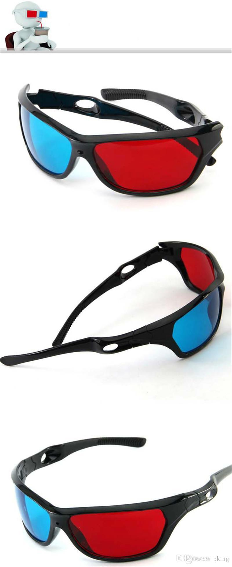 Yeni Siyah Çerçeve Evrensel 3D Plastik Gözlük / ulculos / Kırmızı Mavi Mavi 3D Cam Anaglyph 3D Film Oyunu DVD Vizyon / Sinema