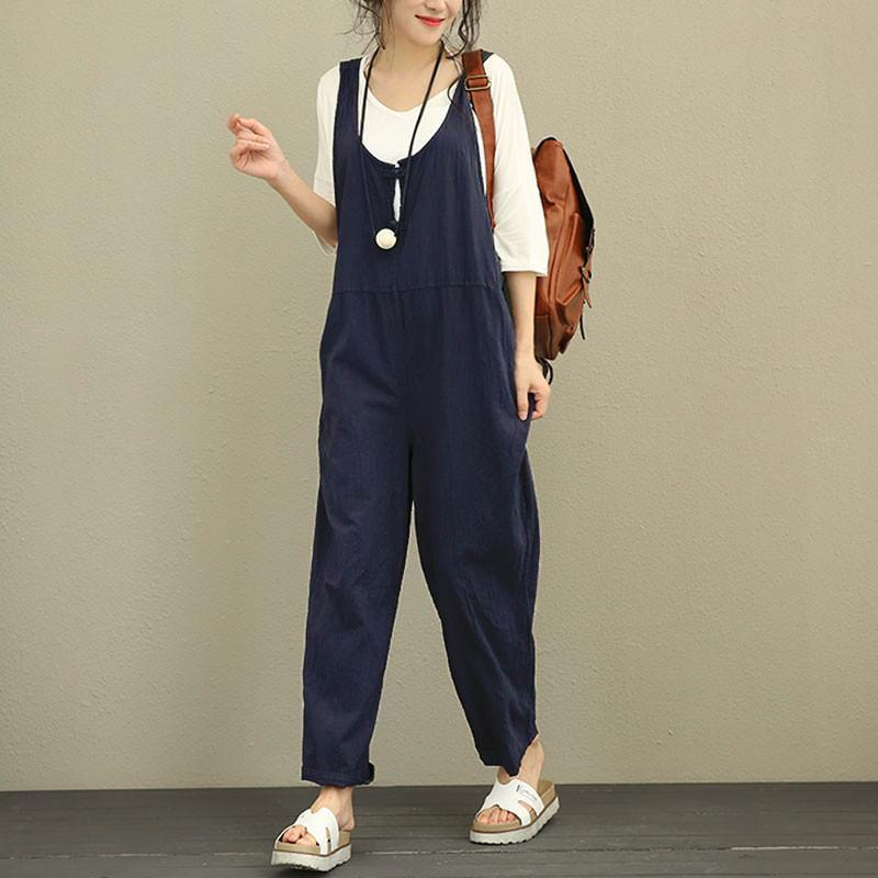 fd43dcb2810 2019 Summer Cotton Overalls Women Jumpsuit Plus Size Loose Suspenders Harem  Pants Women Solid Color Casual Jumpsuit Autumn Clothing From Worsted