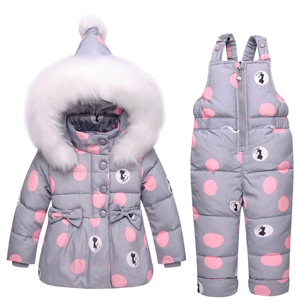 2e9dadd64 Baby Winter Overalls Snowsuit For Girls Boys Duck Down Bowknot Polka ...