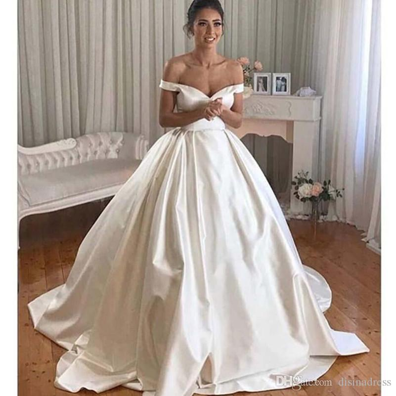 Simple Satin Ball Gown Wedding Dresses V Neck Off Shoulder Bridal ...
