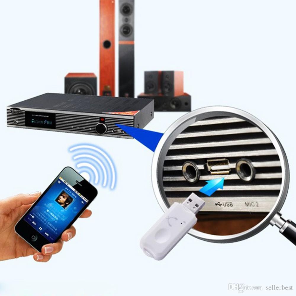 Nouvelle arrivée bleu sans fil USB Bluetooth audio récepteur de musique adaptateur pour iPhone Samsung pour voiture Smartphone Tablet PC haut-parleur