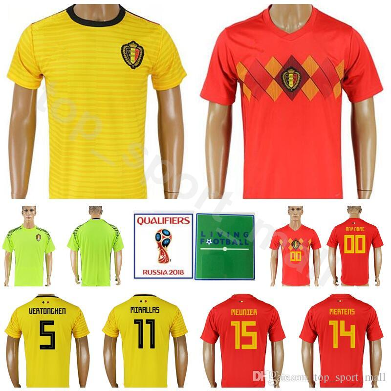 2b7881e6d 2019 Belgium Soccer Jersey Men 2018 World Cup 14 MERTENS 15 MEUNIER 5  VERTONGHEN 11 CARRASCO Football Shirt Kits Custom 21 BATSHUAYI 19 DEMBELE  From ...