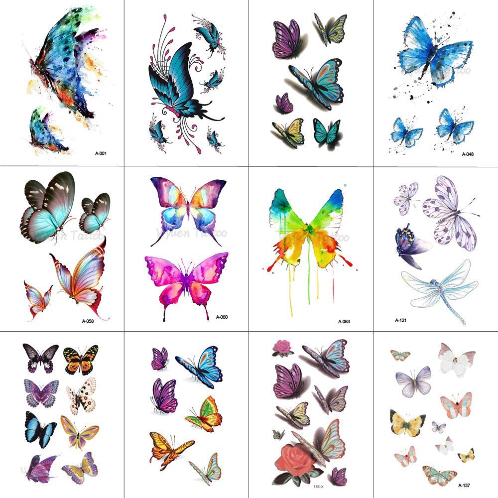 WYUEN Butterfly Temporary Tattoo Sticker for Women Men Body Art Adults Waterproof Hand Fake Tatoo 9.8X6cm W12-03
