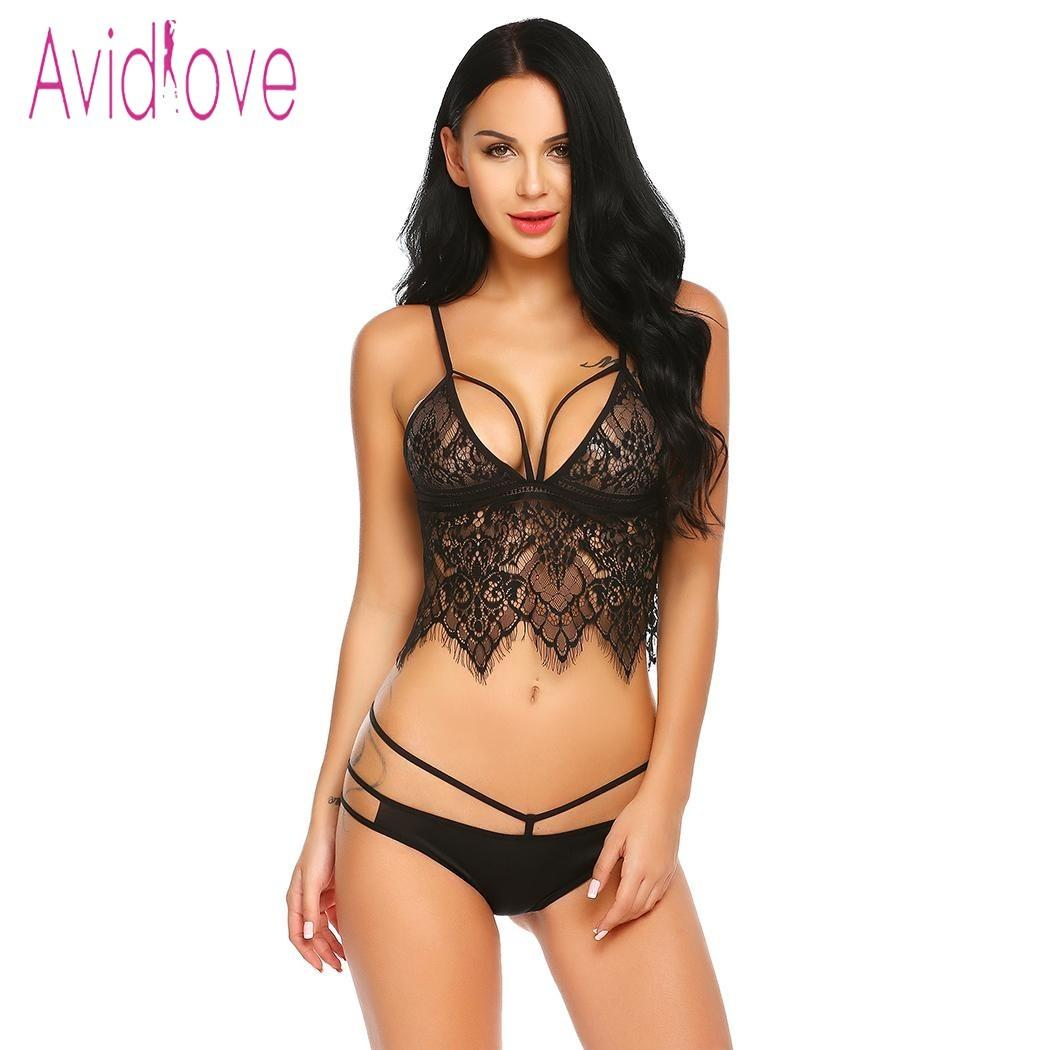 Avidlove Hot Erotic Underwear Sexy Lingerie Set Women Embroidery Bra Lace  Floral Crop Top Bra And Panties Sets Exotic Intimates Y1892710 Lace  Underwear Set ... 2cb1ae481