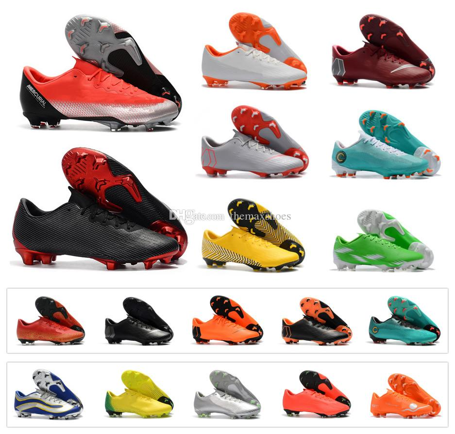 promo code 85430 c9693 Acheter Chaude New Mercurial Vapor XII Pro 12 FG Faible Hommes Chaussures  De Football NJR Cristiano CR7 Neymar JR ACC Bottes De Football En Plein Air  En ...