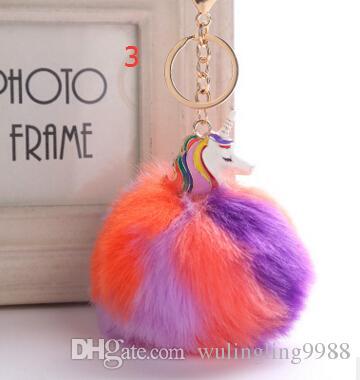 Fluffy Metal Alloy Unicorn Pom Keychain Anhänger Nette Pompom Künstliche Kaninchenfell Ball Schlüsselanhänger Tasche Autoschlüssel Ring Hängen Tasche 9 cm