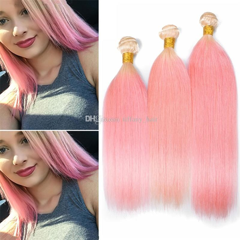 Two Tone Blonde And Pink Ombre Brazilian Hair Bundles Human Hair 613