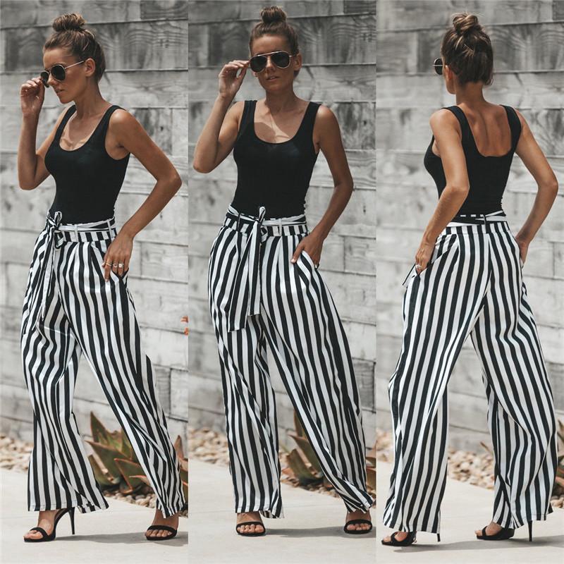 Compre 2018 Moda Verano Pantalones Anchos De La Pierna De Las Mujeres De Cintura  Alta De La Tela Escocesa A Rayas Pantalones Sueltos Palazzo Oficina ... 6fb8babb2130