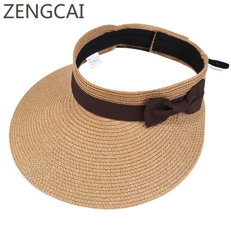 23be6ff04fa Women Summer Sun Hat Large Wide Brim Visor Straw Hats Foldable Beach Cap  Cute Bowtie Floppy Caps Outdoor Sports UV Protection Wide Brim Fedora Summer  Hat ...