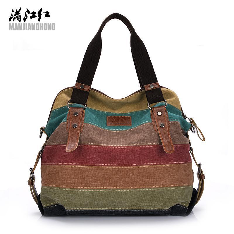 1aa6b4ad00a7 Colorful Women Canvas Shoulder Bag Large Satchel Handbags Ladies Patchwork Crossbody  Messenger Bag Women Casual Tote 1196 Leather Backpacks Shoulder Bags ...