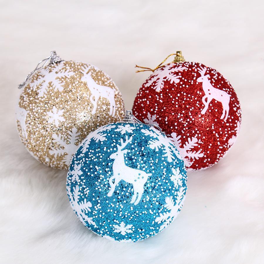 compre 8 cm upscale snowflake reindeer imprimir bolas decorações da