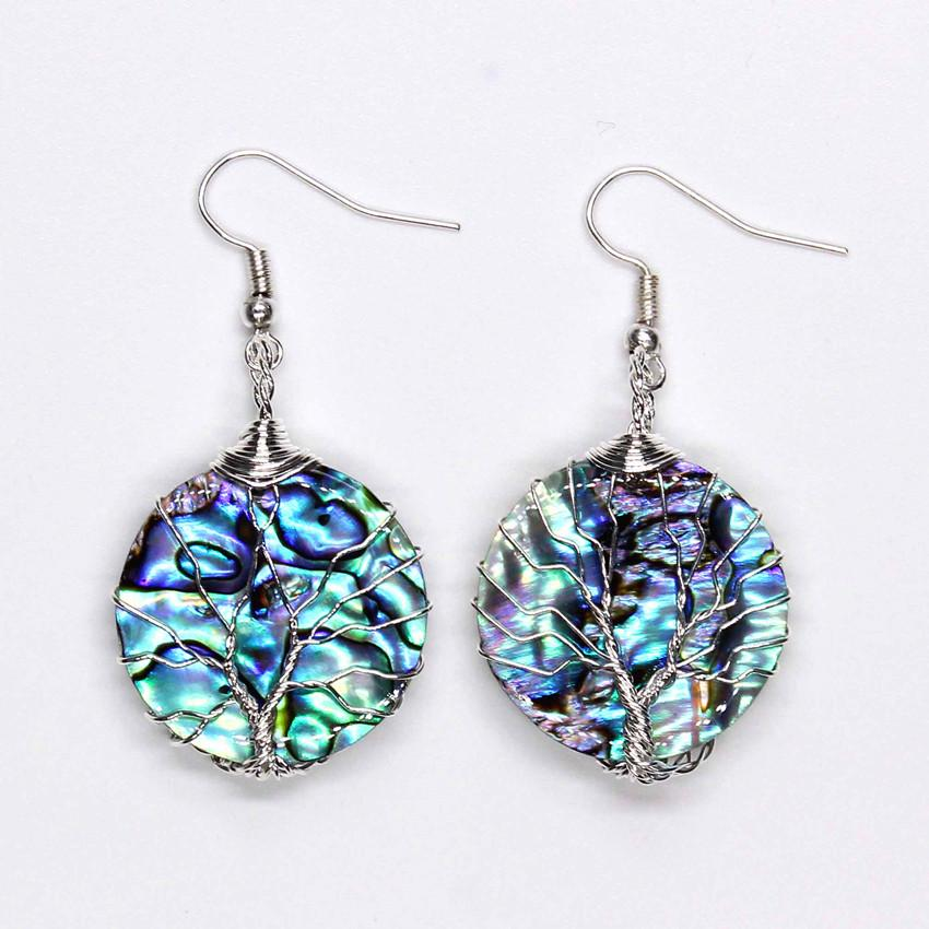 100-Unique 1 Pair Silver Plated Wire Wrap Round Shape Abalone Shell Drop Earrings Charm Women's Earring