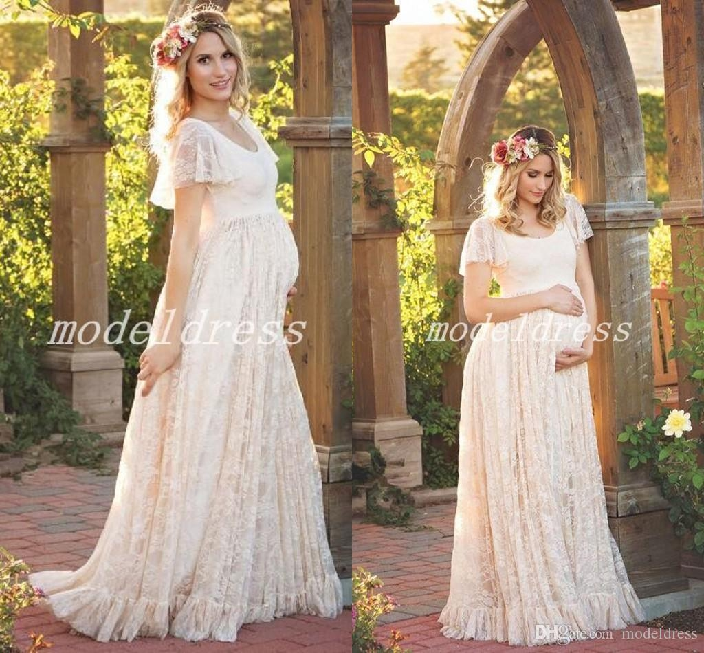 Pregnant Wedding Dress.Bohemian Maternity Pregnant Wedding Dresses 2019 Jewel Short Sleeve A Line Floor Length Full Lace Garden Beach Boho Country Bridal Gowns