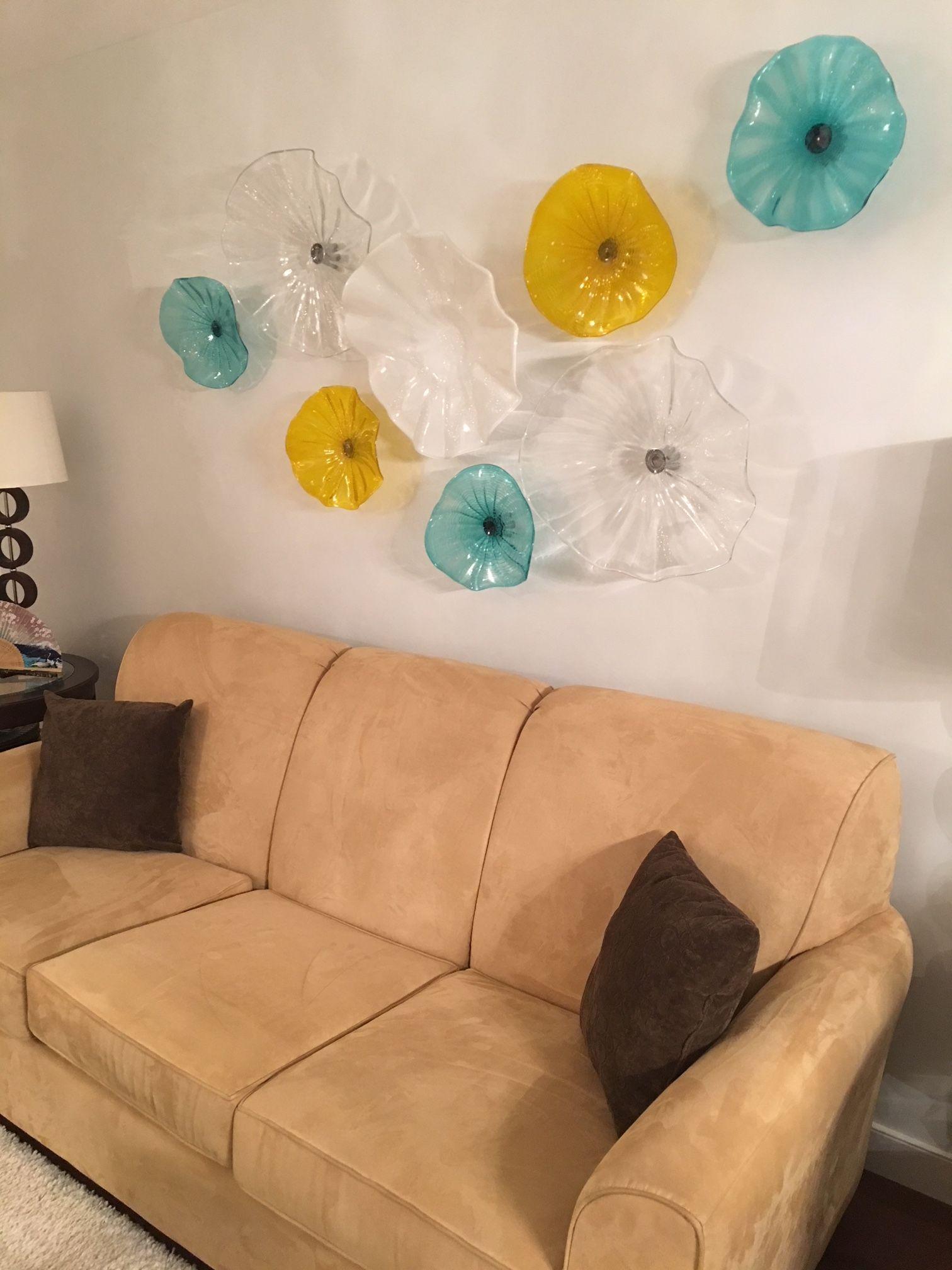 Decorazioni di nozze Piatti in vetro soffiato a mano Wall Art Personalizzato Trasparente Bianco Turchese Giallo Vetro Wall Art Piatti di fiori di Murano Hanging Wall Art