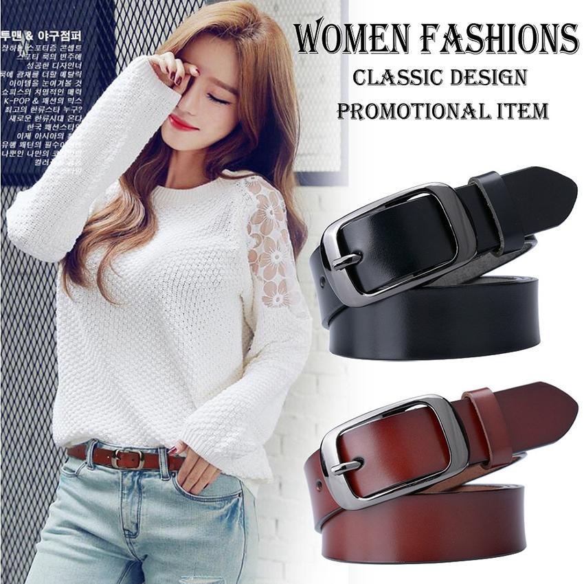 755cac9eb0b Compre Nuevo Diseñador De Moda Para Mujer Cinturones De Cuero Genuino Marca  Correas Cintura Femenina Pin Negro Hebillas De Lujo Vintage Para Jeans A   16.11 ...