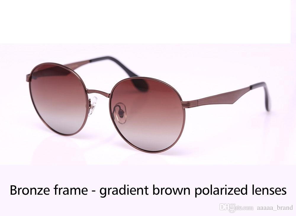 9 farben hochwertige runde polarisierte sonnenbrille männer frauen markendesigner sonnenbrille metallrahmen polaroid objektiv mit kleinkasten und etikett