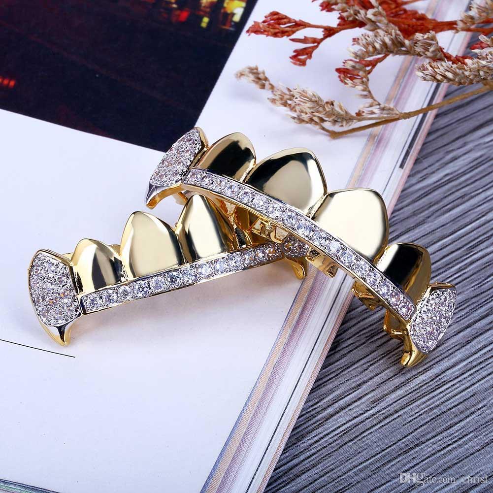 18K реального золотые зубы Grillz шапки со льдом, сверху-снизу клыки вампира стоматологические гриль набор оптом