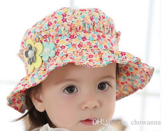 Spring Summer Fahion Flora Flower Bucket Visor Hat Baby Girl Sun Beach Hat Outdoor headwear