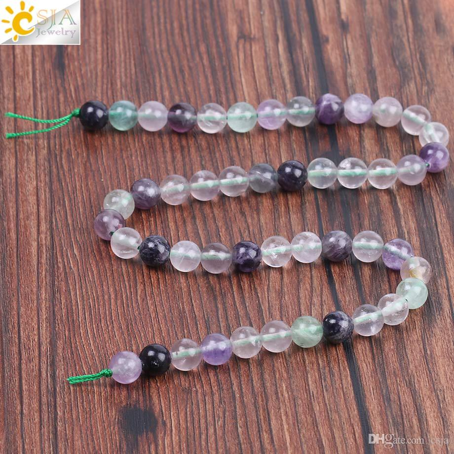CSJA Wholesale 8mm Natural Gem Stone Colorful Fluorite Round Loose Beads Men Women Bracelet Necklace Accessories Jewelry Making Bead F226