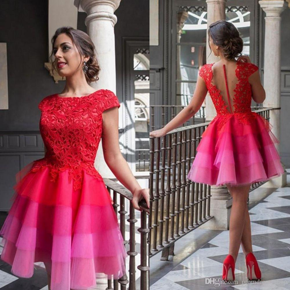 457dc051e147c4 2018 Red Short Homecoming Dresses Lace Applique Cap Sleeves Cocktail Party  Dresses Illusion Back Tiered Mini Graduation Gowns Plus Size Homecoming  Dresses ...