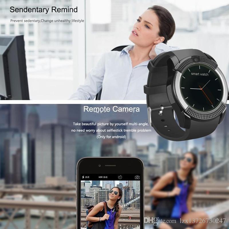 V8 الذكية ووتش بلوتوث ساعة ذكية مع 0.3M كاميرا SIM IPS HD دائرة عرض كامل الذكية ووتش لنظام أندرويد مع صندوق