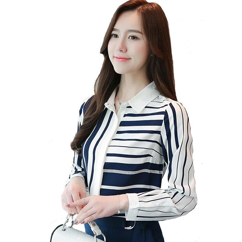6c13a7477 Compre Desconto Feminino Moda Mulher Blusas 2018 Camisa Listrada Outono  Novo Coreano Camisa Feminina Manga Comprida Collar Boneca Chiffon Camisas  Blusa De ...
