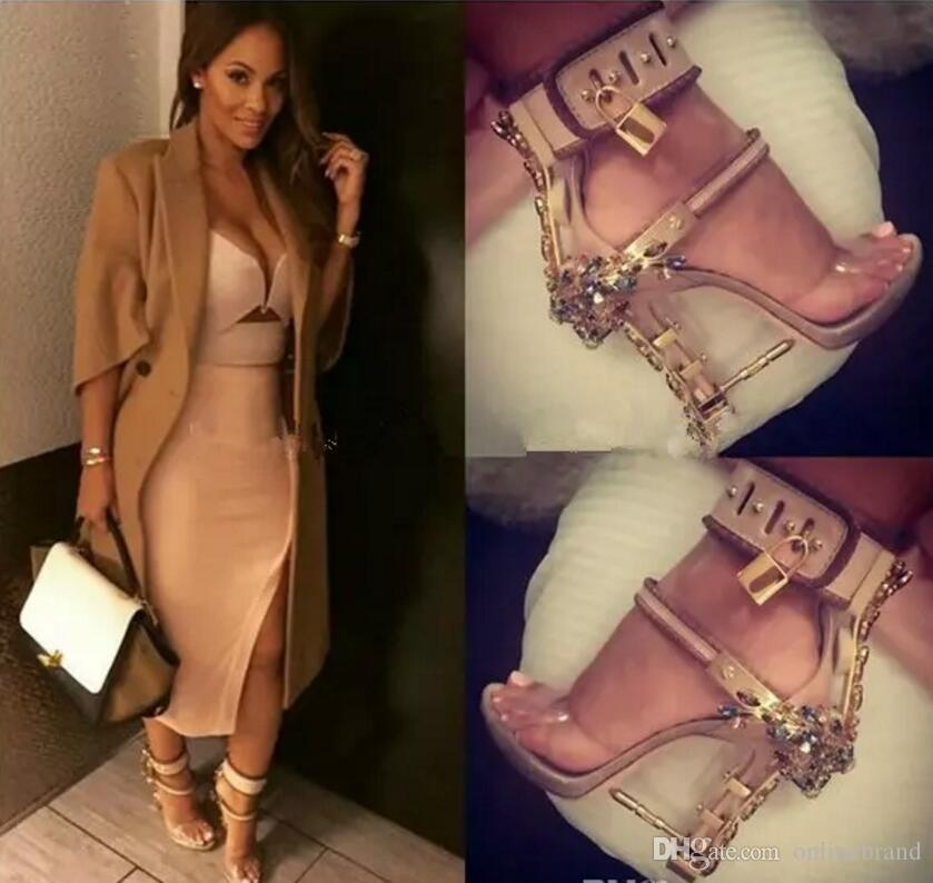 Jeweled Impera Rihanna Sexy Crystal Diamonds Sandals Padlock Spiked High Heels Women Pumps Colorful Beaded Celebrity Party Dress Shoes Mujer