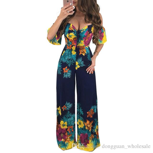 22cc57fe5332 2019 Women Summer Jumpsuits 2018 One Piece Floral Print Sexy Off The  Shoulder Backless Wide Leg Pants Romper Long Playsuits Overalls From  Dongguan wholesale ...