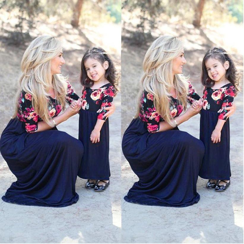 MUQGEW 2018 girls dress summer for Girls Daughter Matching Floral Mom Kids angel Half Sleeve Maxi Long Dress vestidos