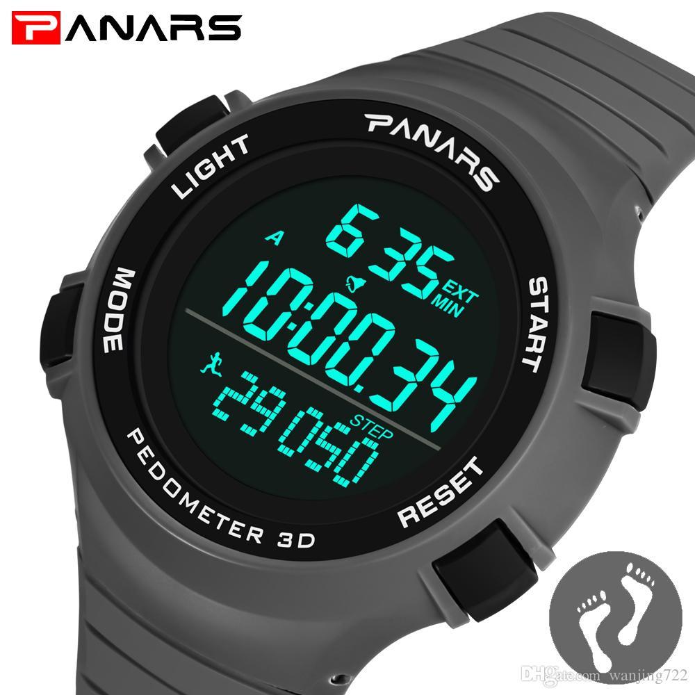 b36fc27274dc Compre PANARS Deporte Militar Al Aire Libre Hombres Reloj 3D Podómetro Relojes  Deportivos LED Reloj Digital 50 M Impermeable Reloj De Lujo Buceo Camping  ...