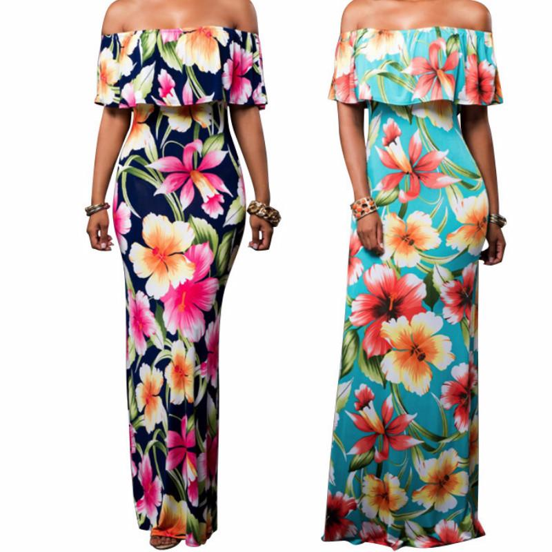 adc1ebe371 2019 PULABO Summer Style Women Floral Printed Maxi Dress Bodycon Sexy  Strapless Floor Long Open Back Bandage Party Dresses From Freea, $27.66 |  DHgate.Com