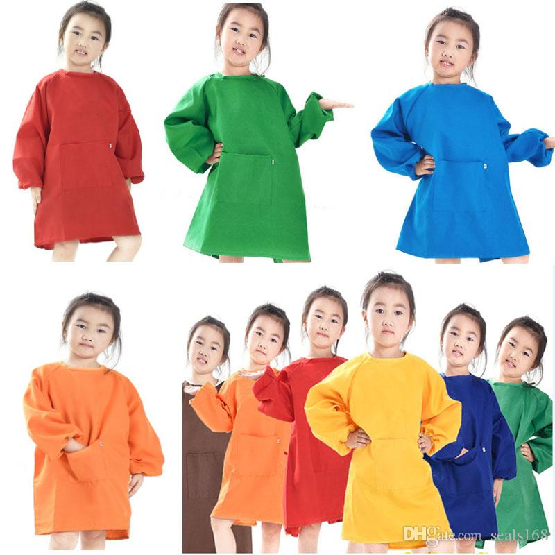 Kids Aprons Bib Baby Children Painting Clothes Waterproof Paint Aprons Baby Eating Meal Painting Long Sleeve Smock Home Textiles HH7-1361