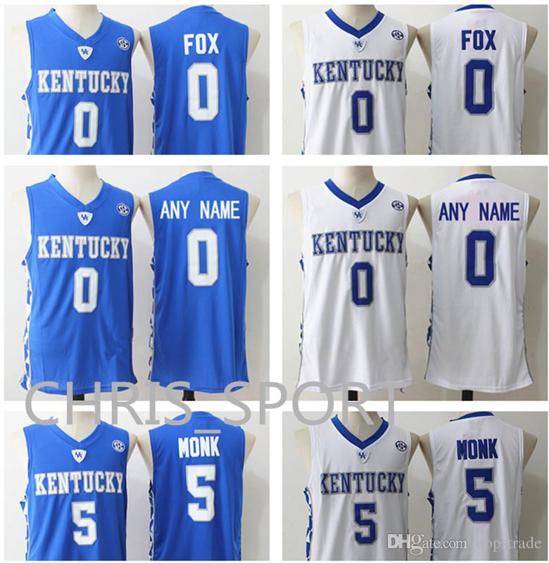 d721bc6d5 Kentucky College Wildcats Custom Basketball Jerseys  0 De Aaron Fox ...