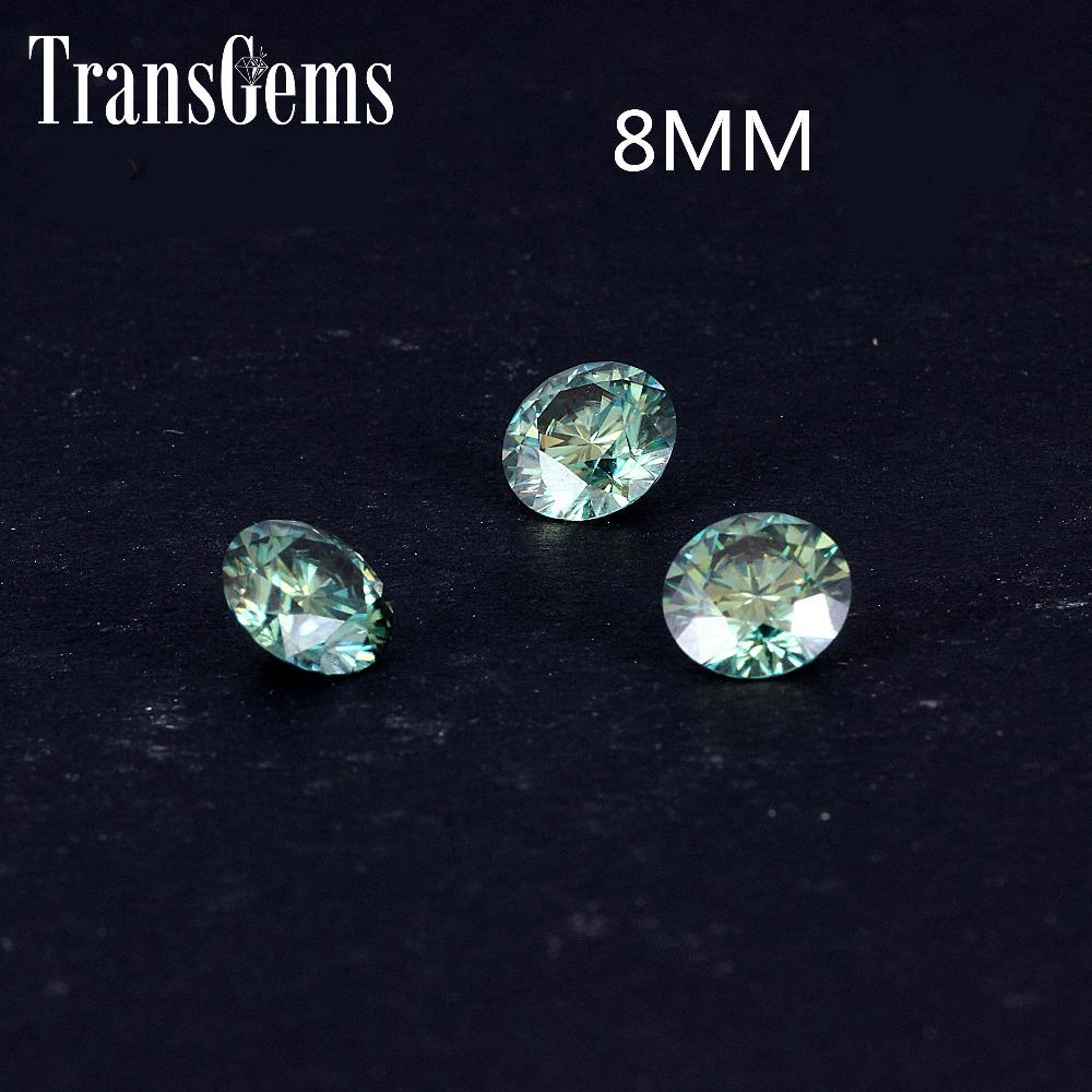 TransGems 8mm 2Carat Green Color Certified Man made Diamond Loose moissanite Bead Test Positive As Real Diamond Gemstone 1pcs