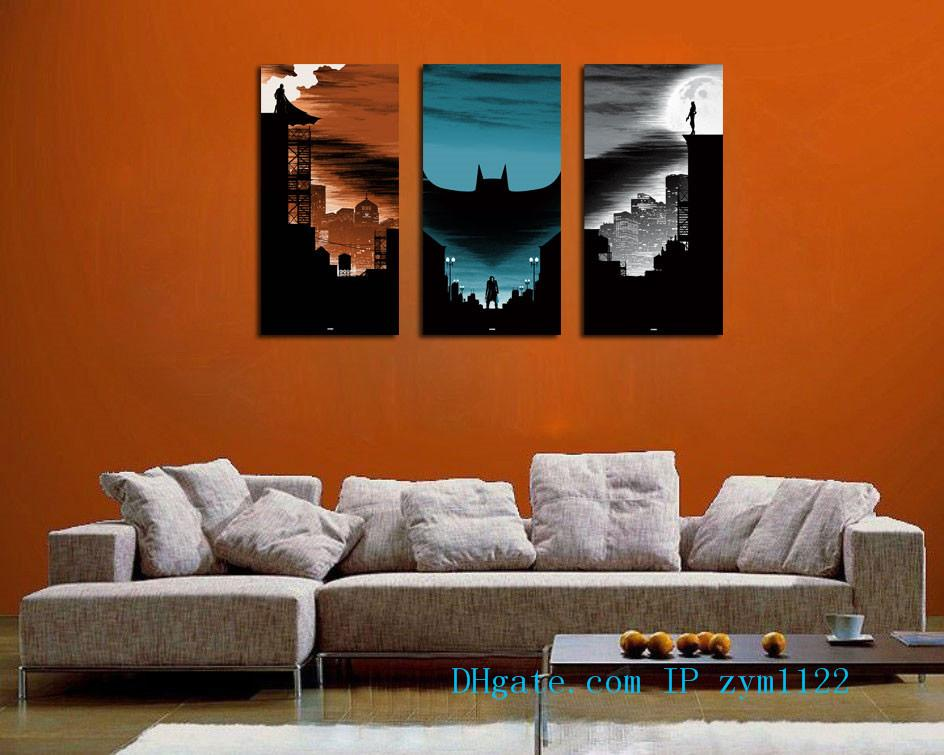 The Batman 3 Pieces Home Decor HD Printed Modern Art Painting on Canvas (Unframed/Framed)