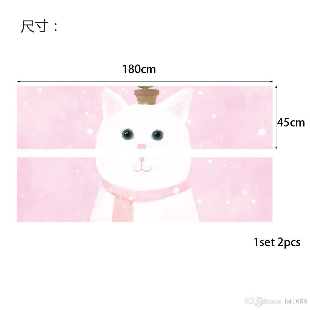Cartoon Design 3D Cute Cat Bedroom Headboard Stickers Vinyl Decal lovely Style Art Wall Mural Girls Room Bed Decor Home Decor