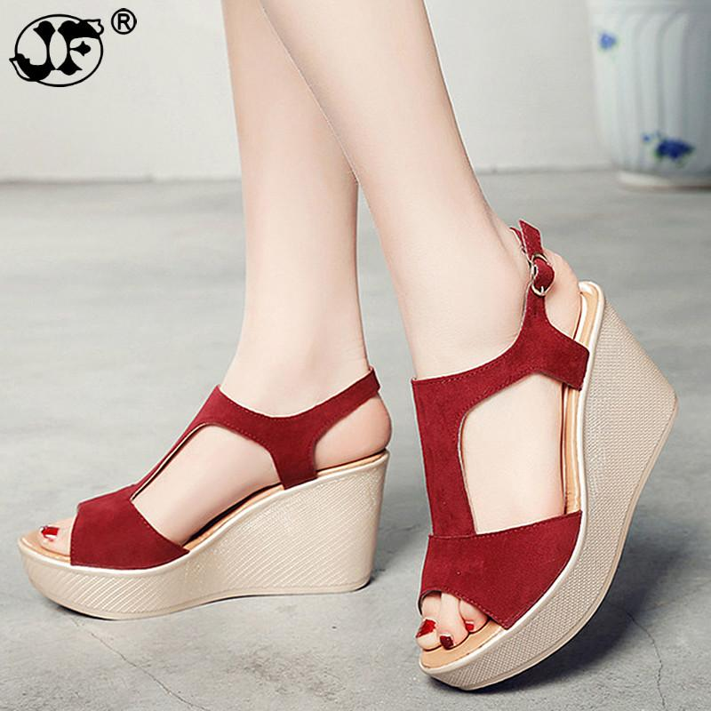 d05b9aeae2 753 Casual Women Sandals Creepers Wedge Sandals Flat Platform Shoes Summer  Women Shoes Suede Peep Toe Ladies 2018 Shoes For Women Nude Wedges From  Bestname, ...