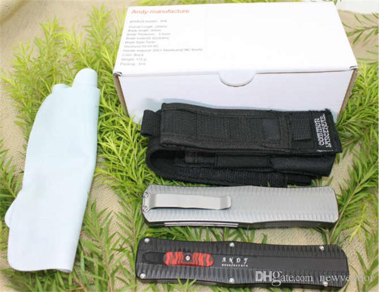 Andy Manufacture Paladin AUTO Tactical Knife D2 Drop Point Satin Blade 6061 Handle EDC Pocket Knife Gift Knives with Nylon B
