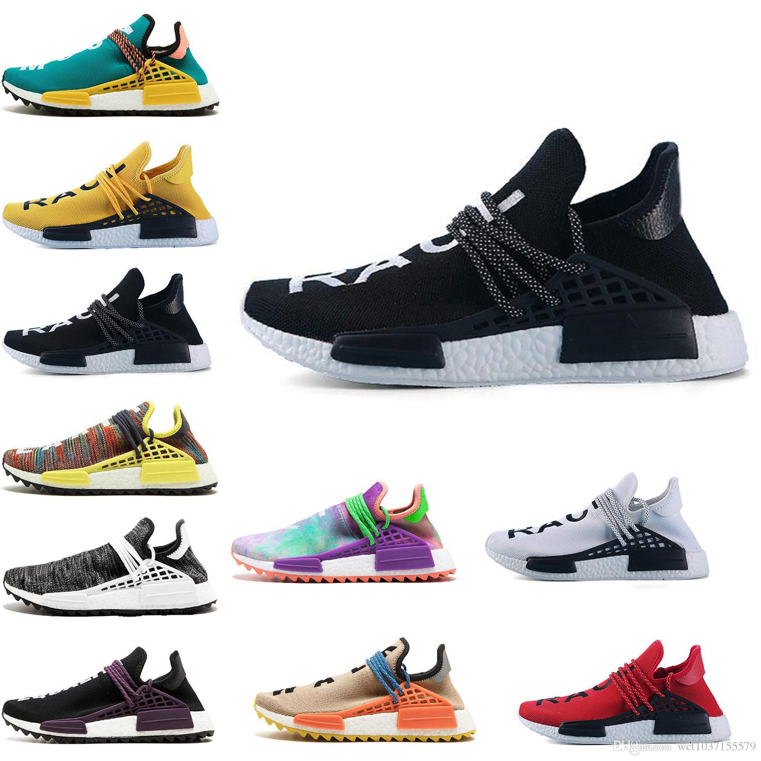 03169ca48 2018 New Pharrell Williams Human Race Nmd Men Women Sports Running Shoes  Black White Grey Nmds Primeknit PK Runner XR1 R1 R2 Sneakers Running  Sneakers ...
