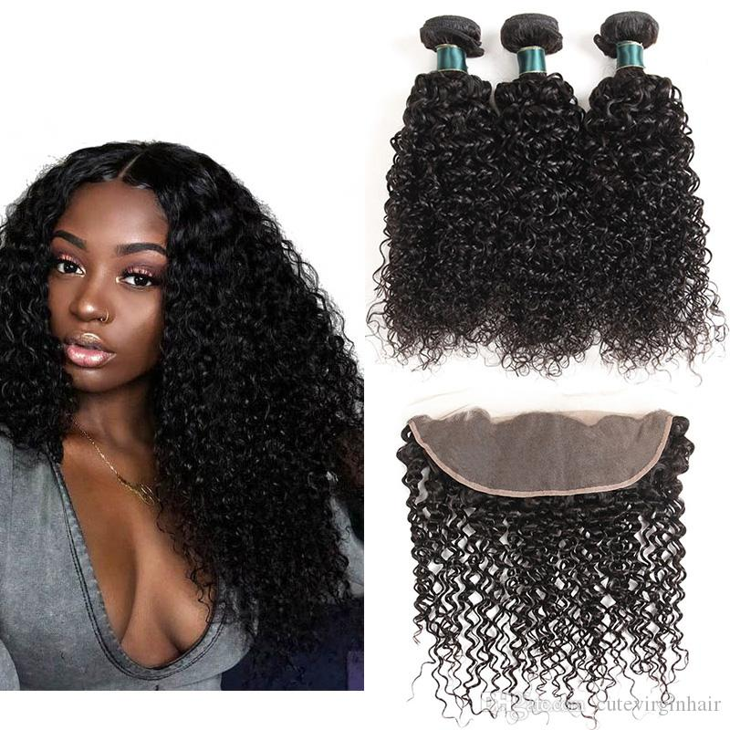 Kinky Curly 13*4 Lace Frontal With Bundles Best Quality Brazilian Virgin Human Hair Weave 3 Bundles With Frontal Hair Extensions 12-26 Inch