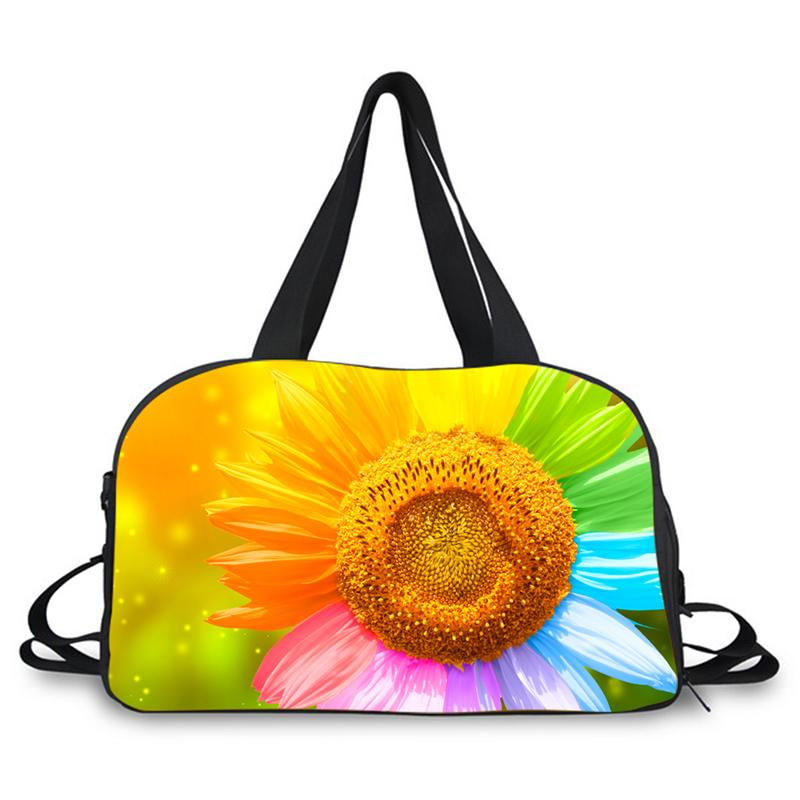 16e94074fd8f 3D floral prints travel bag large weekend dance bag carrying sport with  shoes compartment adjustable straps duffle