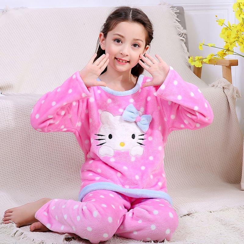 b0c5291c7 Children's Gift Kids Cartoon Lovely Warm Flannel Girls Pajamas New Arrival  WAVMIT Children's Long-sleeved Suit Fashion Sleepwear Y18102908