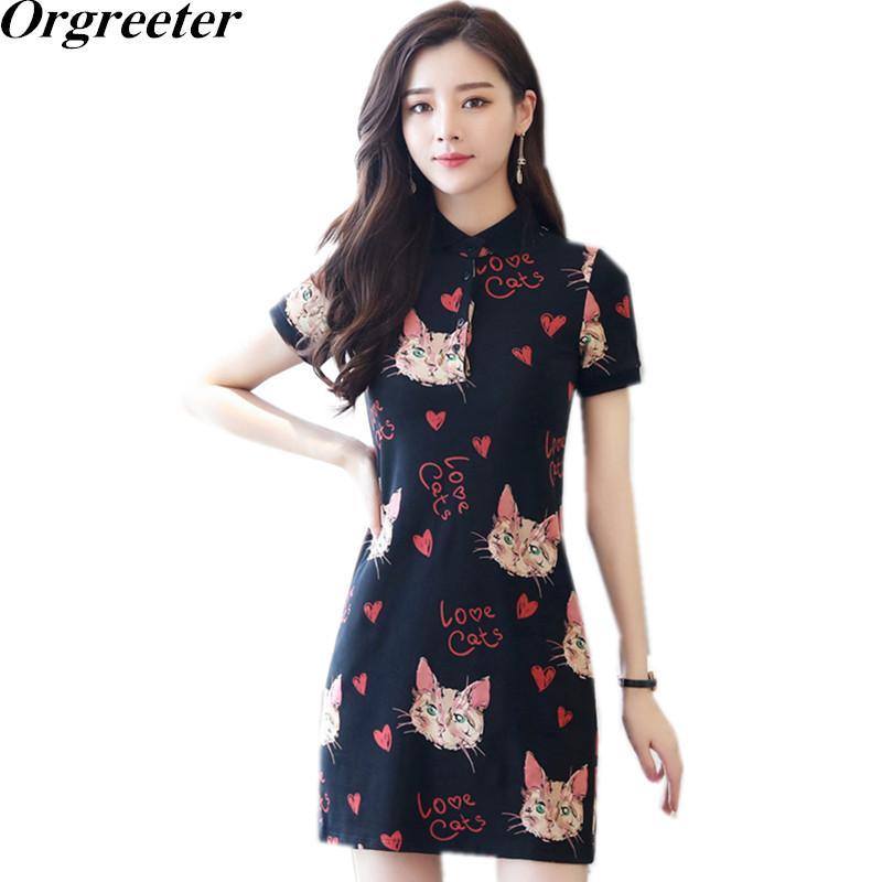 16e19a00edb 2019 Runway Style Women Cartoon Cat Print Short Dress 2018 Summer Sundress  Letter Cute Brief Mini Dresses Plus Size 3XL 4XL 5XL From Vincant